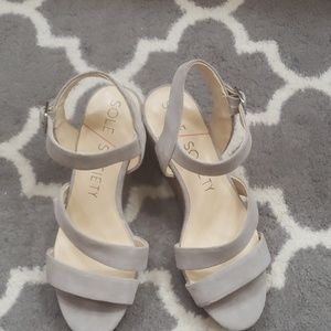 Sole Society Grey suede wedge sandals